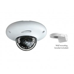 Speco O4MD3 4 Megapixel Network IR Outdoor Mini-Dome Camera with Wall Mount Bracket, 2.8mm Lens, White