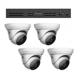 Interlogix TVR-1504-KT1 HD-TVI Analog Surveillance Bundle Contains 1 4 Channel DVR with 1TB and 4 Indoor/Outdoor 3Mpx IR Turret Cameras, 2.8 mm Lens