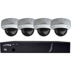 Speco ZIPX4D1 4 Channel HD-TVI DVR, 1080p, 1TB with 4 Outdoor IR Dome Cameras, 3.6mm Lens, White