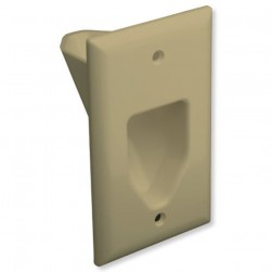 DataComm 45-0001-IV 1 Gang Recessed Low Voltage Cable Plate, Ivory