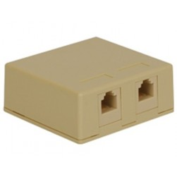 ICC IC625SV2IV 2-Port 6P6C RJ-11 Surface Mount Jack - Ivory