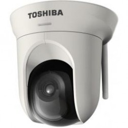 Toshiba IK-WB16A-W Megapixel IP Pan/Tilt Camera with free 16-Channel Recording Software, Wireless Ready