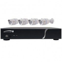 Speco ZIPT4B1 4 Channel HD-TVI DVR, 1TB with 4 X 1080p Outdoor IR Bullet Cameras, White