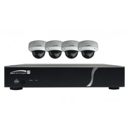 Speco ZIPT84D2 HD-TVI 8 Channel DVR, 2TB with 4 X 1080p Outdoor IR Dome Cameras, White