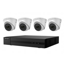 Hikvision EKI-Q41T44 Kit Includes Four 4 Megapixel Outdoor Turret Cameras, 2.8mm Lens with One 4 Channel NVR with PoE, 1TB