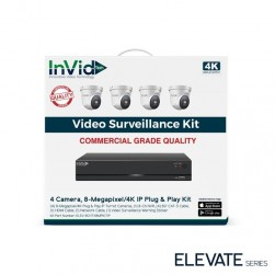 InVid ELEV-8CHTX8MPKITIP-4TB 8 Megapixel/4K Plug & Play IP Turret Cameras with 8 Channel Network Video Recorder, 4TB