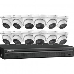 Dahua N564E124S Starlight Network Security System 16 Channel 4K NVR, 4TB with 12 x 4MP Eyeball Cameras