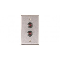 Alarm Controls RP-27 Single Gang Stainless Steel Wall Plate with Two Normally-Open Red Push Buttons and Guard Rings