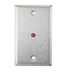 """Alarm Controls RP-28L Single Gang Stainless Steel Wall Plate with 1/2"""" Red LED"""