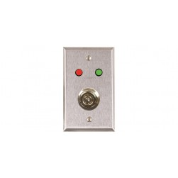 """Alarm Controls RP-50 Single Gang Stainless Steel Wall Plate with 1/4"""" Red, Green LEDs and 3/4"""" """"D"""" Hole for Ace Lock"""