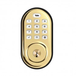 Yale YRD216NR-605 Pushbutton Deadbolt No Radio, Bright Brass-PVD