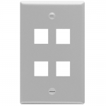 ICC IC107F04GY 4-Port 1-Gang Flat Faceplate, Gray
