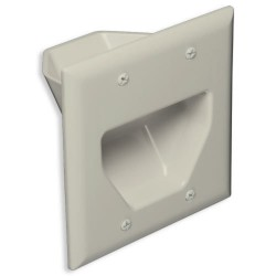 DataComm 45-0002-LA 2 Gang Recessed Low Voltage Cable Plate, Lite Almond