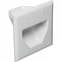 Datacomm 45-0002-WH 2-Gang Recessed Low Voltage Cable Plate, White