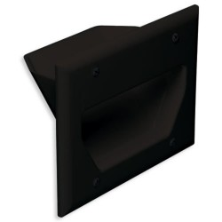 DataComm 45-0003-BK 3 Gang Recessed Low Voltage Cable Plate, Black