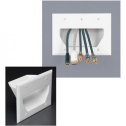 DataComm 45-0003-WH 3 Gang Recessed Low Voltage Cable Plate, White
