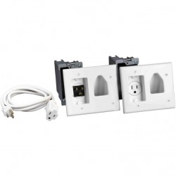 DataComm 45-0023-WH Recessed Pro-Power Kit with Straight Blade Inlet, White