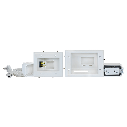 DataComm 45-0024-WH Recessed Pro-Power Kit with Duplex Receptacle and Straight Blade Inlet, White