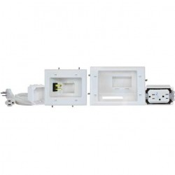 DataComm 45-0028-WH Recessed Pro-Power Kit with Duplex Surge Suppressor and Straight Blade Inlet, White