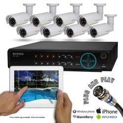 Nuvico 8CSIR500 8 Weatherproof Nightvision Bullet Security Camera System w/ 500GB DVR