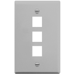 ICC IC107F03GY 3-Port 1-Gang Flat Faceplate, Gray