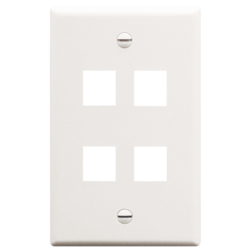 ICC IC107F04WH 4-Port 1-Gang Flat Faceplate, White
