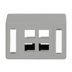 ICC IC108UF4GY 4-Port Universal Furniture Faceplate Gray