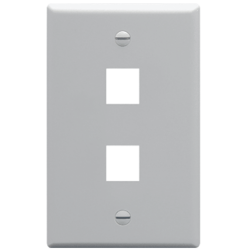 ICC IC107F02GY 2-Port 1-Gang Flat Faceplate, Gray