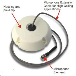 Louroe Electronics VERIFACT B-6 Omni-Directional Dome Mic. for High Ceiling Applications, 6ft