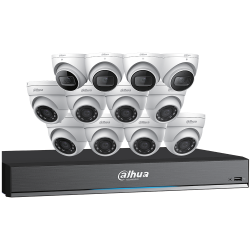 Dahua C7168E124 Eight 8x5 Megapixel and Four 4K HD-CVI Eyeball Cameras with One (1) 16 Channel 4K HDCVI DVR, No HDD
