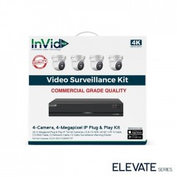 InVid ELEV-8CHTX4MPKITIP 4 Megapixel Plug & Play IP Turret Cameras with 8 Channel Network Video Recorder, No HDD