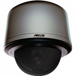Pelco SD423-PG-E1-X 540 TVL Analog Clear Indoor/Outdoor Dome Camera, 23X, Light Gray, PAL