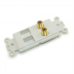 DataComm 20-5108 Decor Style Wall Plate Insert with 2 Gold Plated F-Type Connector and 2 Open Keystone Ports