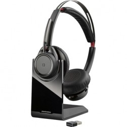 Polycom 202652-103 B825 Voyager Focus UC Stereo Wireless Bluetooth Over-The-Head/Binaural/Supra-Aural Headset