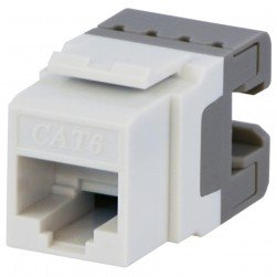 DataComm 20-3426-WH-10 Cat 6 Keystone Snap-In Connector, White, 10 Pack
