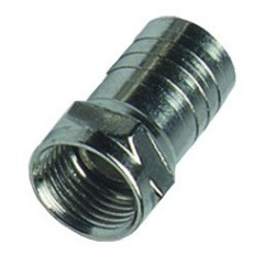 """DataComm 30-1205 Crimp On F-Connector Male with Attached 1/2"""" Crimp Ring, RG-6"""