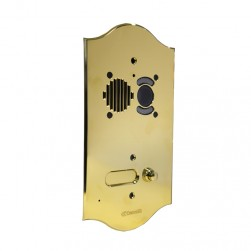 Comelit 3206-RI ROMA series brass video entrance panel with 6 push-buttons on 1 row. Preset for Powercom audio/video module