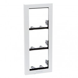 Comelit 3311-3W Ikall Series 3-Module Holder Frame with White Finishing Frame
