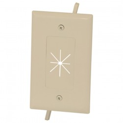 DataComm 45-0014-IV 1 Gang Cable Plate with Flexible Opening, Ivory