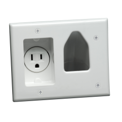 DataComm 45-0021-WH Recessed Low Voltage Cable Plate with Recessed Power, White