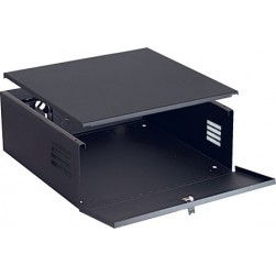 Video Mount Products DVR-LB1 Black Lockbox with Fan and Key Locked Hinging Front Door