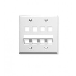 ICC IC107AF8WH 8-Port 2-Gang Angled Faceplate, White