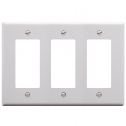 ICC IC107DFTWH 3-Gang Decorex Faceplate - White