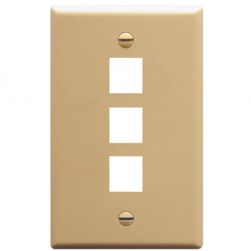 ICC IC107F03IV 3-Port 1-Gang Flat Faceplate, Ivory