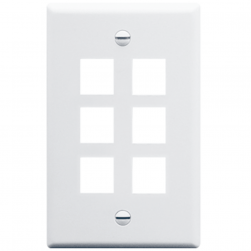 ICC IC107F06WH 6-Port 1-Gang Flat Faceplate, White