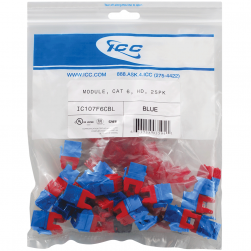 ICC IC107F6CBL HD CAT 6 Keystone Jacks, 25-Pk, Blue