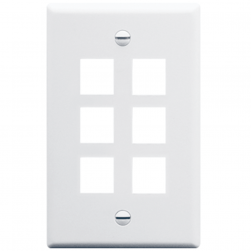 ICC IC107LF6WH 6-Port Single Gang Oversized Faceplate White