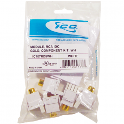 ICC IC107RD5WH RCA IDC Component Kit, Gold Plated, White