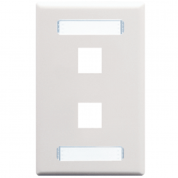 ICC IC107S02WH 2-Port 1-Gang Station ID Faceplate - White