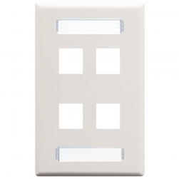 ICC IC107S04WH 4-Port 1-Gang Station ID Faceplate - White